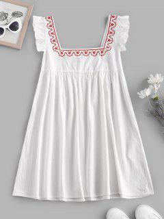 Ruffle Armhole Embroidered Smock Dress - White S