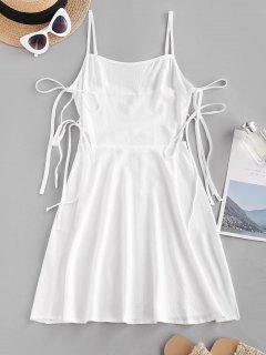 Gebundenes Gesticktes Seitliches Cami Minikleid - Weiß L