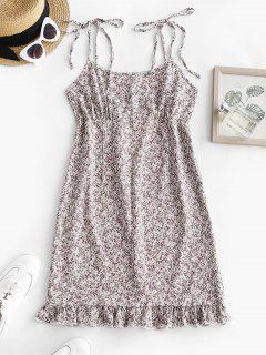 Shoulder Tie Ditsy Print Ruffled Hem Sundress - White M