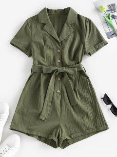 ZAFUL Belted Lapel Rolled Button Placket Romper - Green S