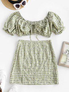 Daisy Gingham Ruffle Puff Sleeve Slit Skirt Set - Light Green S