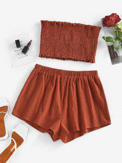 ZAFUL Smocked Bandeau Ruffle Wide Leg Shorts Set - Red S