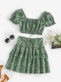 ZAFUL Flower Polka Dot Ruffle Smocked Tiered Skirt Set - Green M
