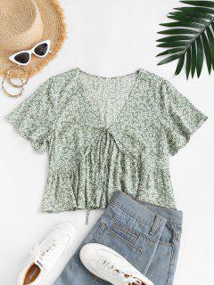 ZAFUL Tiny Floral Print Bowknot Blouse - Light Green M