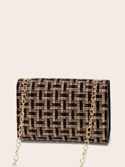 online Plaid Chain Crossbody Bag - BLACK  Mobile