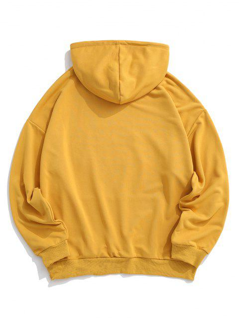 buy Reflective Letter Graphic Drop Shoulder Hoodie - YELLOW XL Mobile