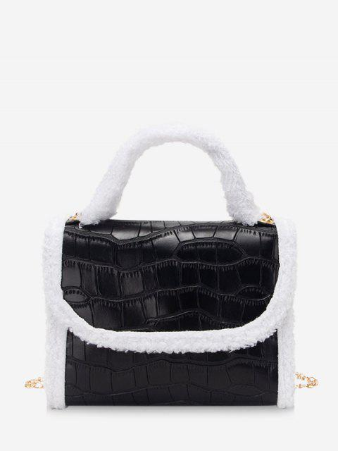 Flauschige Rand Kette Abdeckung Handtasche - Schwarz  Mobile