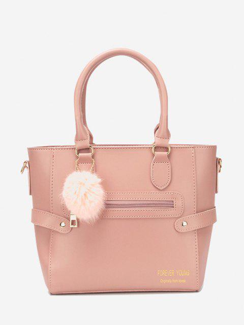 ポンポンペンダントトートバッグ - ピンクのバラ  Mobile