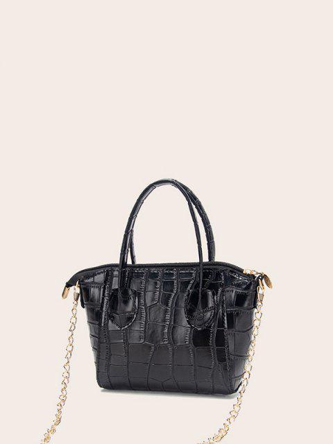 outfits Chain Stone Grain Tote Bag - BLACK  Mobile