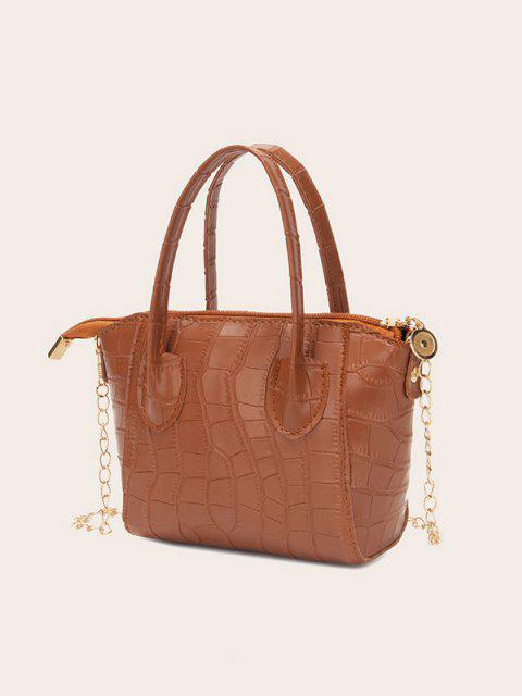 latest Chain Stone Grain Tote Bag - CHESTNUT RED  Mobile