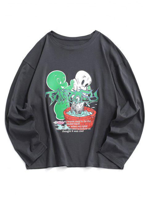 affordable Long Sleeve Cartoon Graphic T Shirt - GRAY S Mobile