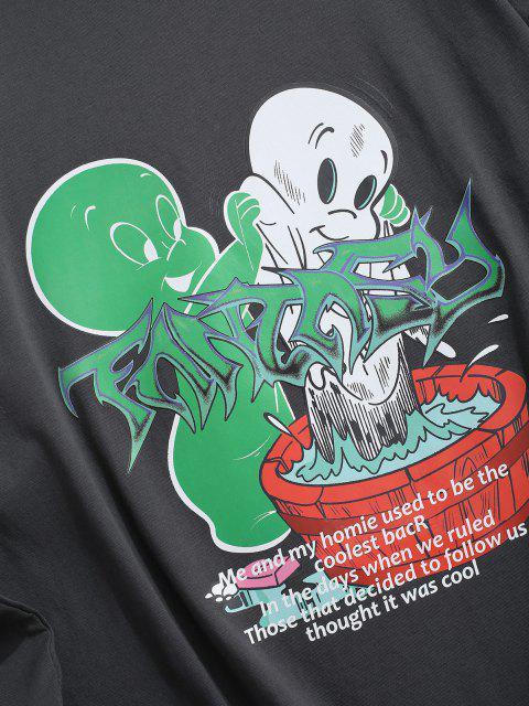 Camiseta Manga Larga Estampado Caricatura - Gris M Mobile