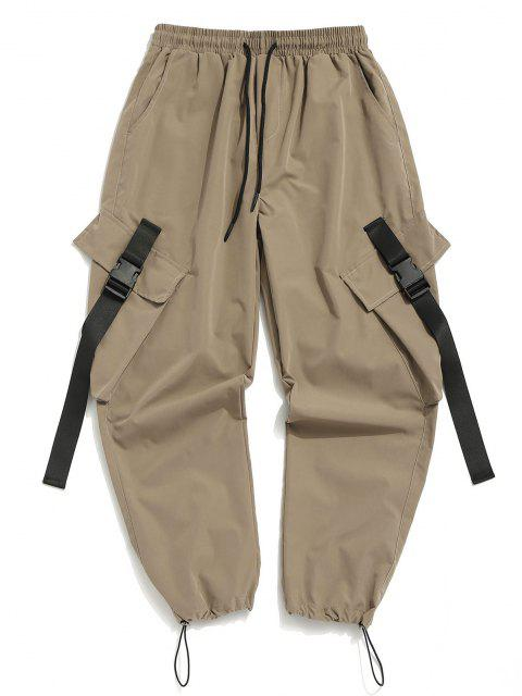 Pantalones de Carga con Correa de Hebilla de Multi-bolsillo - Caqui Claro S Mobile