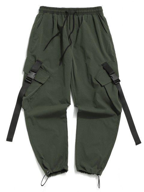 Pantalones de Carga con Correa de Hebilla de Multi-bolsillo - Verde de Jungla  S Mobile