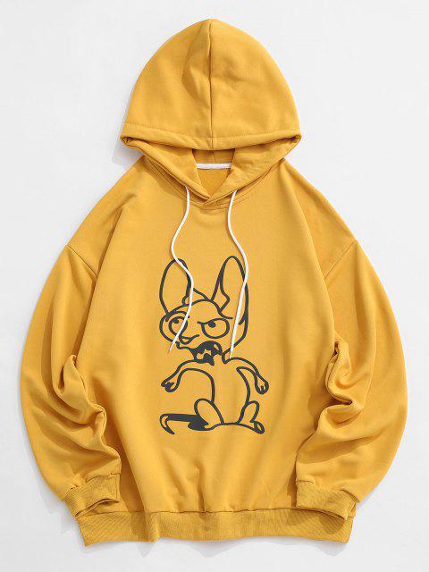 Sudadera con Capucha Hombro Caído Diseño Impreso Animal - Amarillo XL Mobile