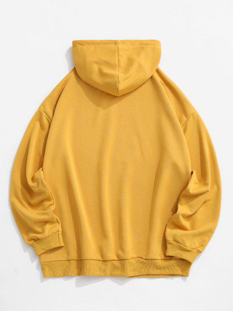 outfits Reflective Animal Print Drop Shoulder Hoodie - YELLOW XL Mobile