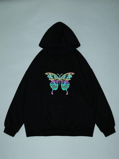Sweat à Capuche Papillon Réfléchissant Imprimé à Goutte Epaule - Noir L Mobile