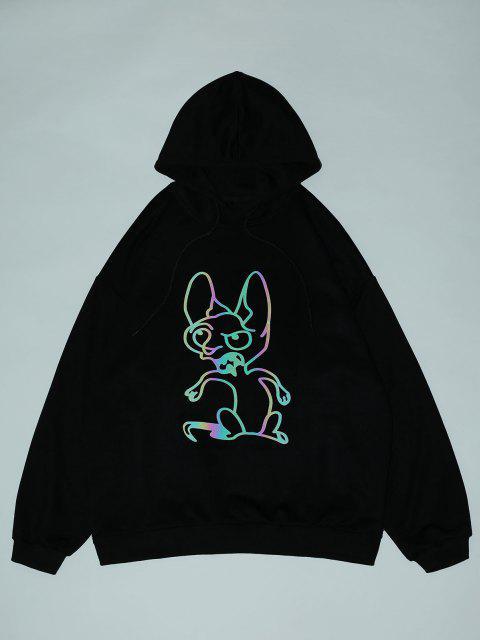 shop Reflective Animal Print Drop Shoulder Hoodie - BLACK 2XL Mobile