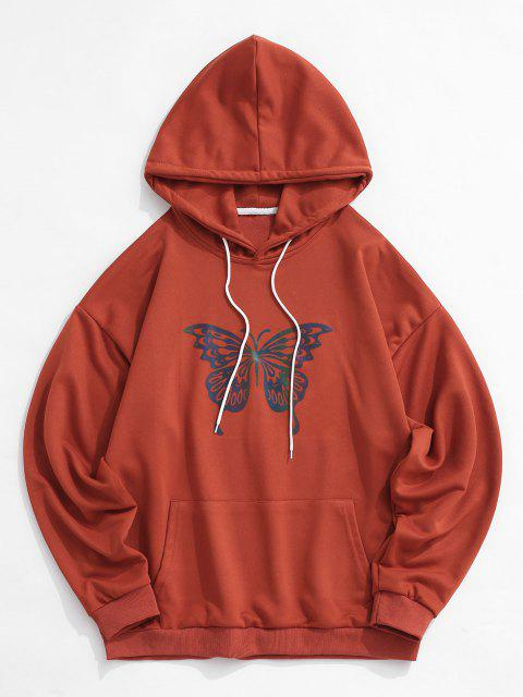 shops Reflective Butterfly Print Drop Shoulder Hoodie - RED WINE XL Mobile