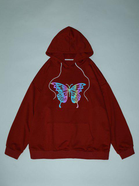 chic Reflective Butterfly Print Drop Shoulder Hoodie - RED WINE S Mobile