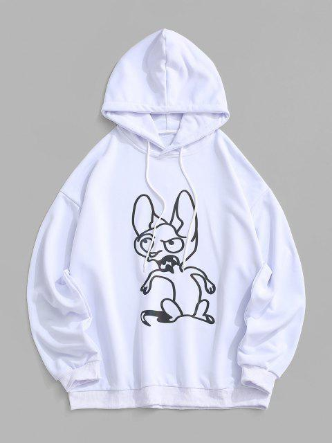 affordable Reflective Animal Print Drop Shoulder Hoodie - WHITE S Mobile