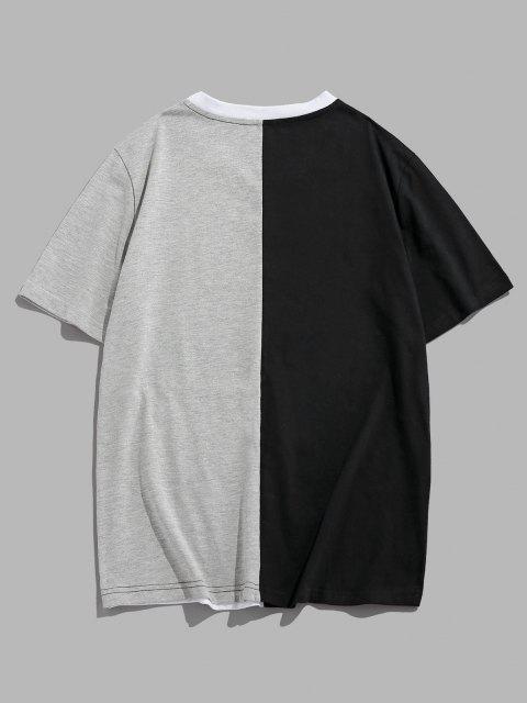 T-Shirt Casuale con Pannello a Blocchi di Colore di ZAFUL - Multi Colori XXL Mobile