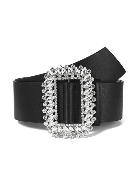 Rhinestone Rectangle Buckle Belt - أسود  Mobile