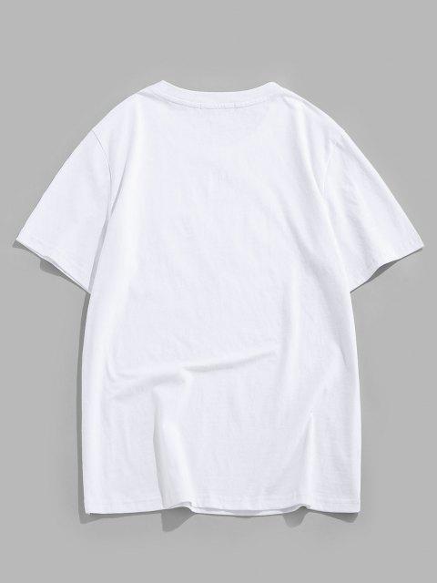 ZAFUL Forgive Rose Short Sleeve Basic T-shirt - أبيض S Mobile