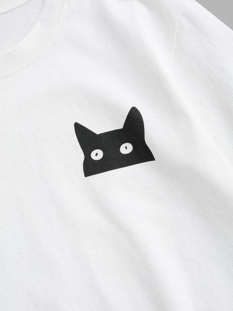 T-Shirt Basic con Stampa a Gatto di Cartone - Bianca 2XL Mobile