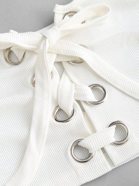 Top e Pantaloncini a Costine con Lacci - Bianca S Mobile