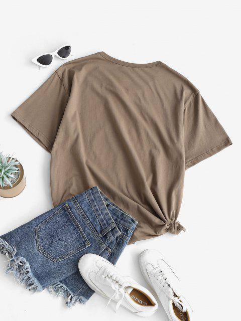 latest Funny Coconut Tree and Sun Graphic Cotton Tee - COFFEE S Mobile