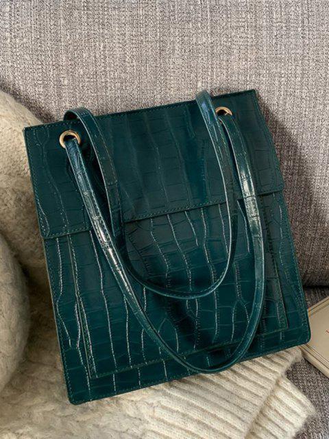Bolsa tote em couro sintético alto-relevo com cós alto - Verde de Floresta Escura  Mobile