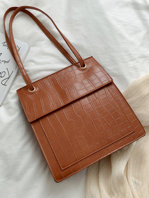 Bolsa tote em couro sintético alto-relevo com cós alto - Castanho  Mobile