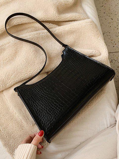 affordable Retro Textured Shoulder Bag - BLACK  Mobile