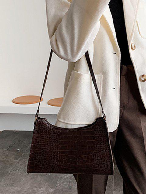 Bolsa de Ombro Texturizada em Couro com Zíper - Café Escuro  Mobile