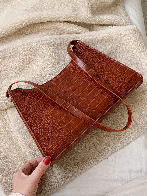 womens Retro Textured Shoulder Bag - BROWN  Mobile