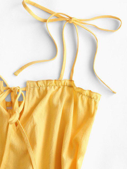 Gebundenes Schulter Schlüsselloch Rüsche Volant Saum Kleid - Gelb XL Mobile