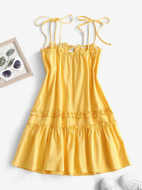 best Tie Shoulder Keyhole Ruffle Flounce Hem Dress - YELLOW S Mobile