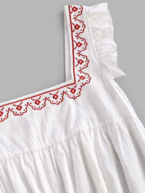 trendy Ruffle Armhole Embroidered Smock Dress - WHITE S Mobile