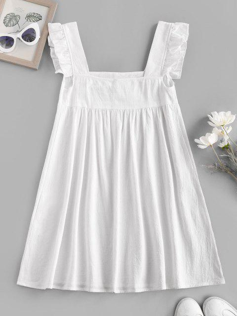 lady Ruffle Armhole Embroidered Smock Dress - WHITE L Mobile