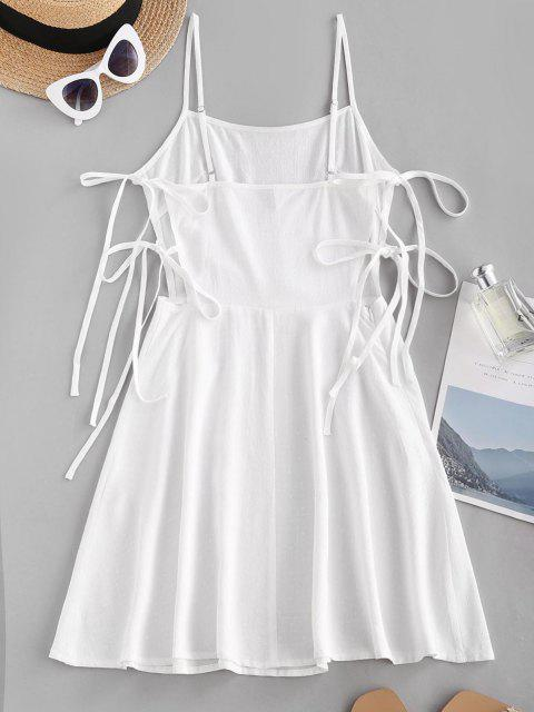 latest Embroidered Tie Side Cami Mini Dress - WHITE M Mobile