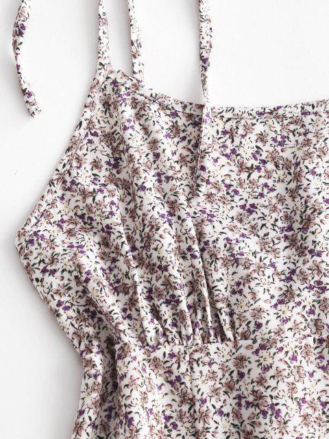 Robe D'Eté Fleurie Imprimée Epaule Nouée Ourlet à Volants - Blanc L Mobile