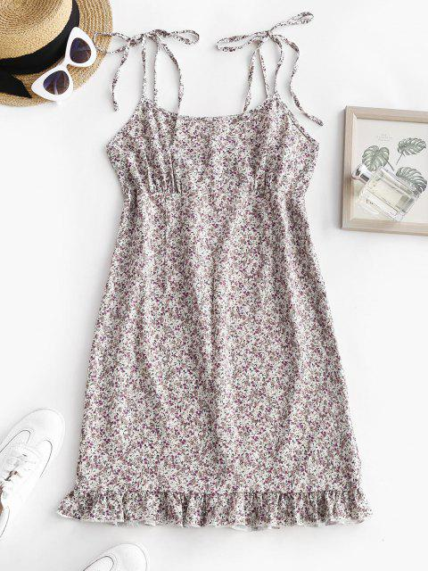 outfit Shoulder Tie Ditsy Print Ruffled Hem Sundress - WHITE M Mobile
