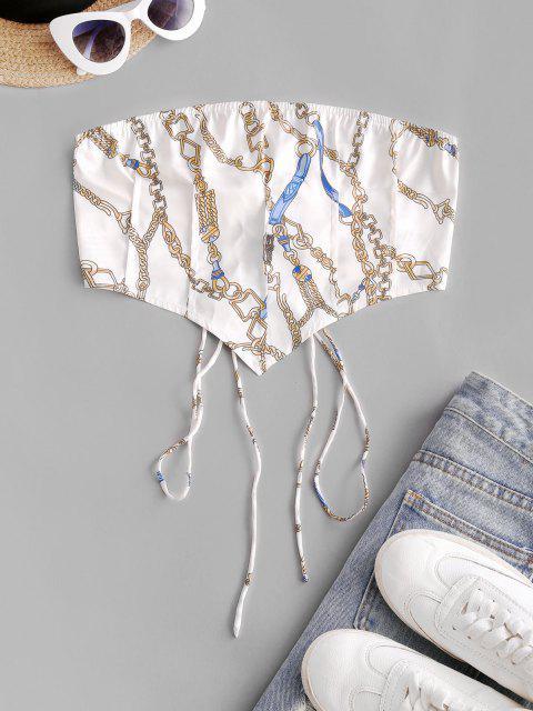 Débardeur Imprimé Chaîne à Lacets - Blanc XL Mobile
