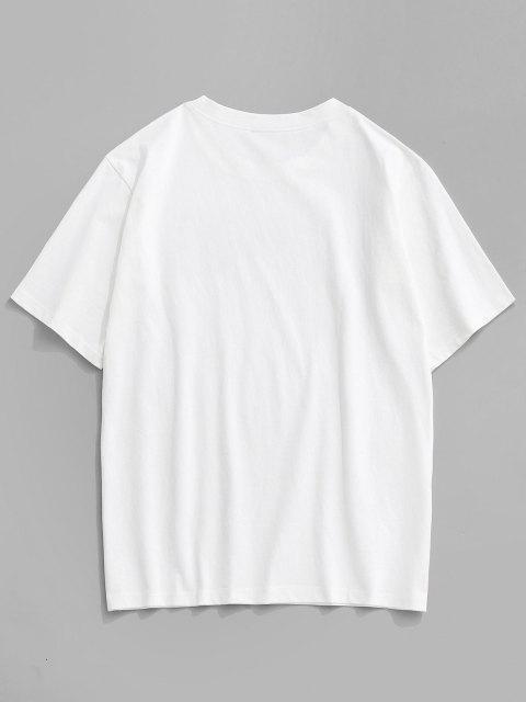 T-Shirt Basic con Stampa a Gatto di Cartone - Bianca M Mobile