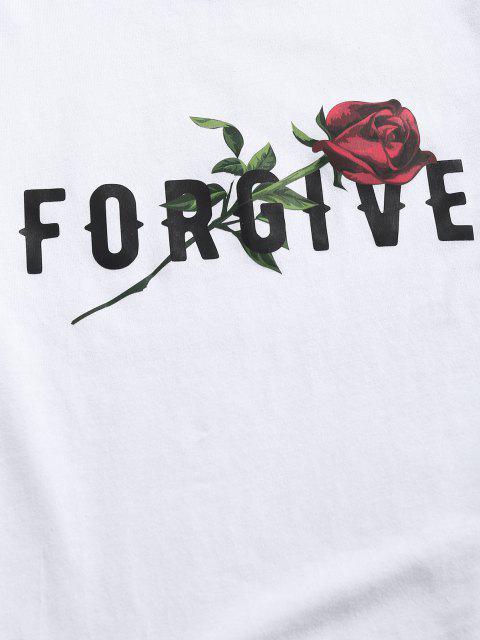 fashion ZAFUL Forgive Rose Short Sleeve Basic T-shirt - WHITE XXL Mobile
