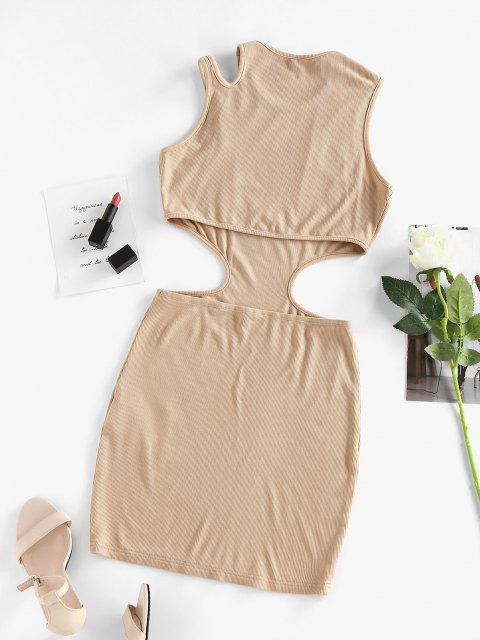 chic ZAFUL Ribbed Cutout Bodycon Tank Dress - LIGHT COFFEE XL Mobile