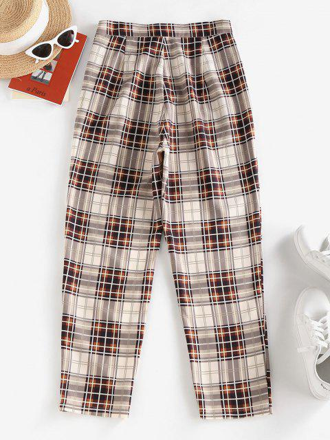 hot ZAFUL High Waisted Plaid Tapered Pants - LIGHT COFFEE L Mobile