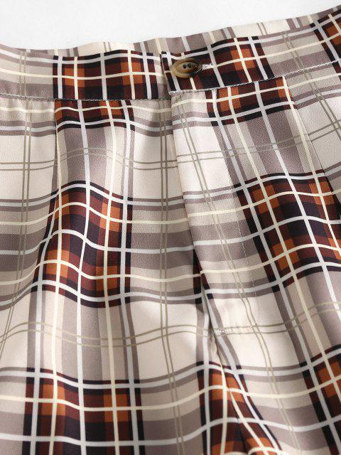 outfit ZAFUL High Waisted Plaid Tapered Pants - LIGHT COFFEE XL Mobile