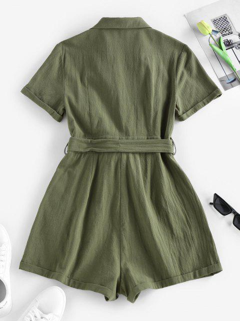 chic ZAFUL Belted Lapel Rolled Button Placket Romper - GREEN M Mobile